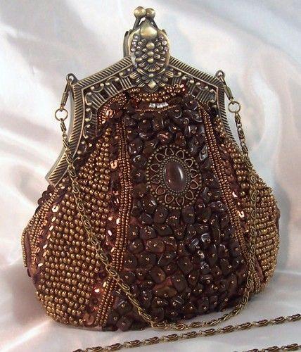 Vintage Brown Beaded Evening Bag