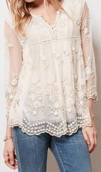 Chic Round Neck See-Through Flower Embroidery Long Sleeve Blouse