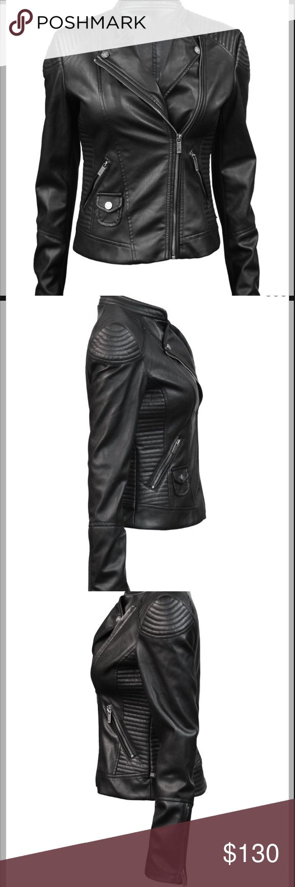 Top Gun vegan leather jacket Top Gun® Women's Vegan Leather Cafe Racer Jacket Soft, supple synthetic vegan leather is crafted into this classic jacket with a fitted silhouette. - Made with genuine synthetic vegan leather - Zip-up angled welt pockets - Zip-up front - Zip cuffs This is worn only a few times but it was small on me so it have two small tear on the inside of the jacket that can be fixed. I've added pictures. This jacket looks mint clean from the outside. This jacket also has life…