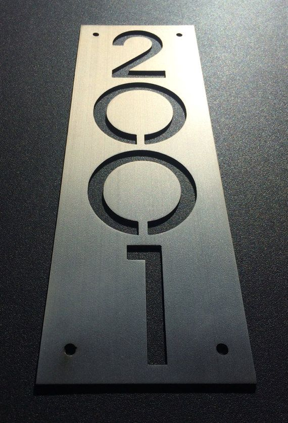 Custom stainless house number plaque (plate only).  Available vertically or horizontally Standard size 15x5, although custom size/proportion