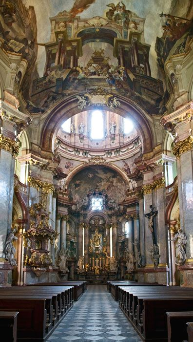 The interior of the Church of Saint Nicolas in Prague, Czech Republic.