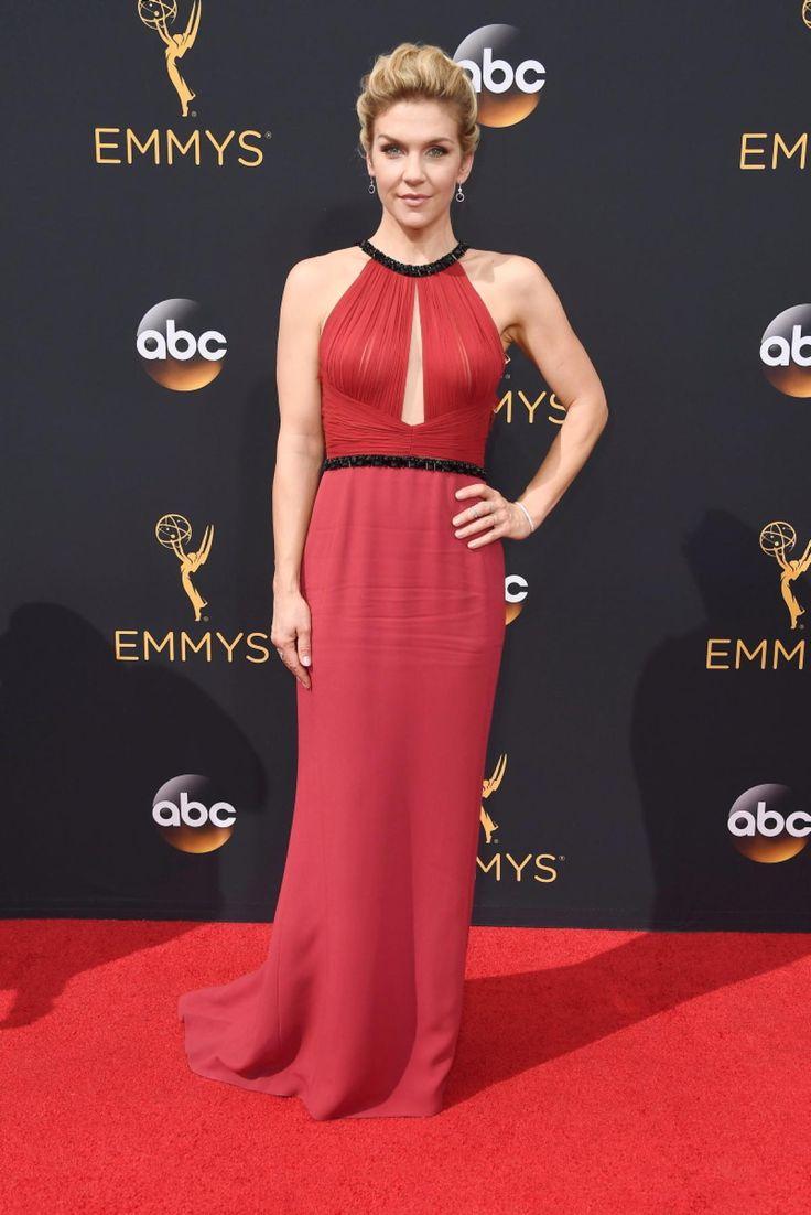 """Better Call Saul"" actress Rhea Seehorn donned a sleek red dress to the 2016 Emmy Awards on Sept. 18, 2016."