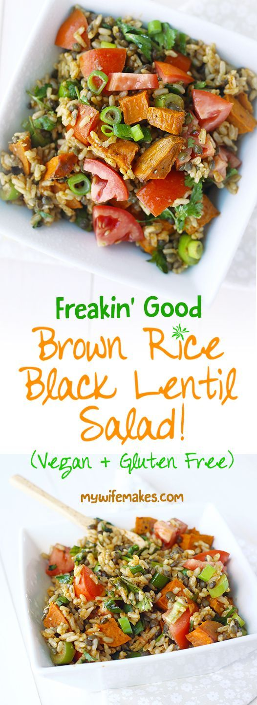 AMAZING Vegan Brown Rice Black Lentil Salad. Marvelously easy and cheap to make. :) perfect for lunch and dinner! #vegan #veganfood #salad #lentil #brownrice | MyWifeMakes.com Adapted from the amazing Vanessa of @Vegan Family Recipes | Vanessa Croessmann.
