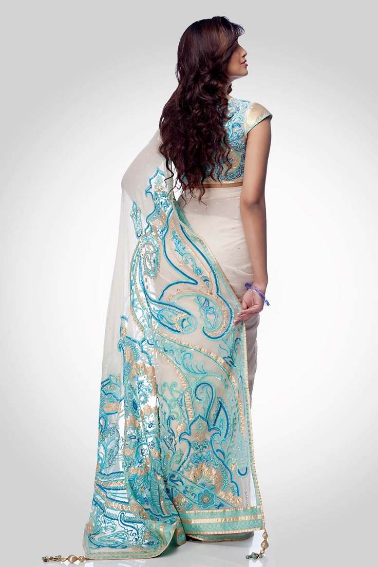 White saree with embroidered pallu | Satya Paul