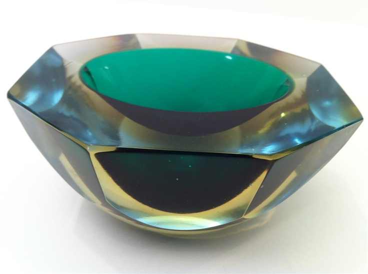 Sommerso Glittering 4 Coloured Cased Glass Faceted