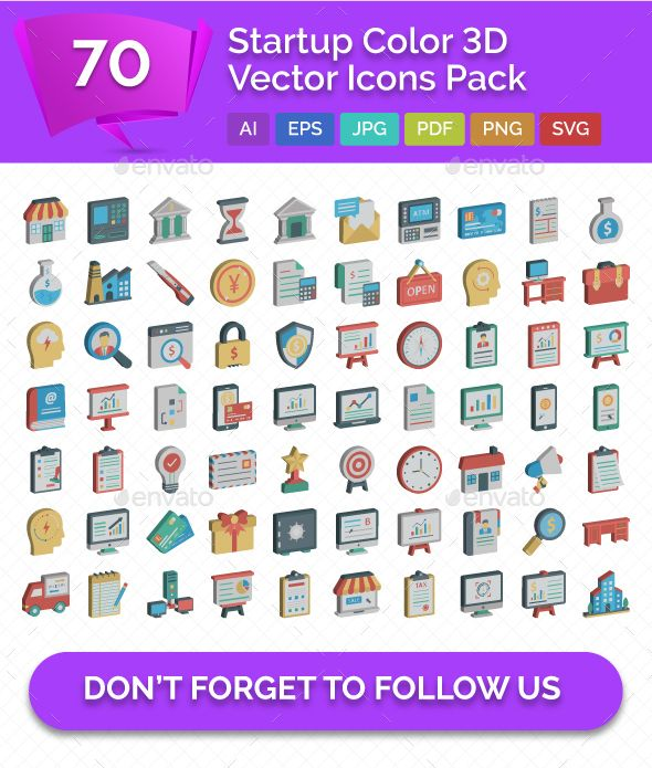 70 Startup Color 3d Vector Icons Pack Fully Customisable Set Of