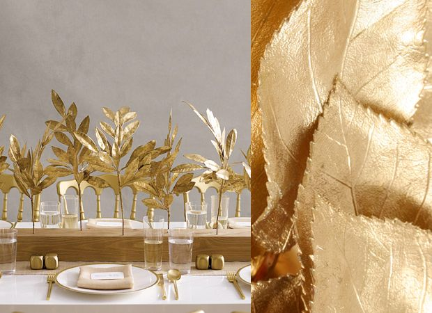 Take a tip from Martha Stewart Weddings and spray paint dried leaves with gold paint for the perfect budget friendly but fabulous centerpiece. This one is absolutely GORGE.