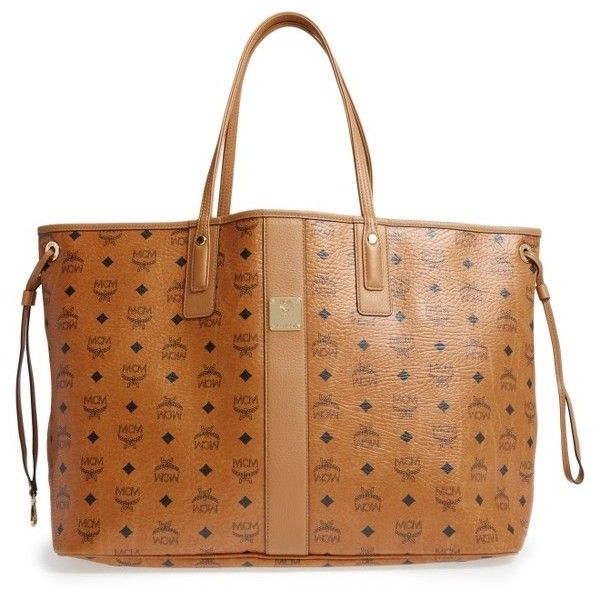 Women's Mcm 'Large Liz' Reversible Shopper ($665) ❤ liked on Polyvore featuring bags, handbags, tote bags, cognac, cognac tote, mcm shopper, shopper tote, mcm handbags and mcm tote bag