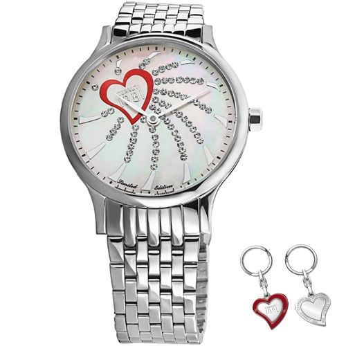 Cerruti 1881 Valentine CRM123SN28MS-KS Ladies Watch 7630010262384      	Stainless steel case, silver colored coating, polished  	Stainless steel strap, silver colored coating, polished, folding clasp  	Quartz movement, battery operated  	Dial mother-of-pearl, set with stones  	30 meters Water Resistant  	Case width ca. 32 mm      Comes with box, booklet and key holder.    MSRP: 249,00 EUR | Shop this product here: http://spreesy.com/vampire_clothing/34 | Shop all of our products at…