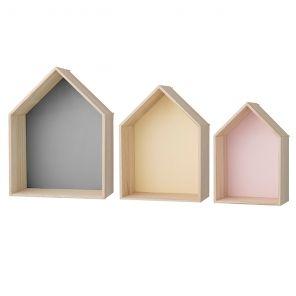 bloomingville regal wandregal haus pastell 3tlg moodc. Black Bedroom Furniture Sets. Home Design Ideas