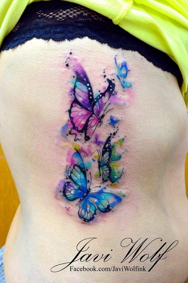 Watercolor butterflies  Tattooed by @javiwolfink www.javiwolf.com