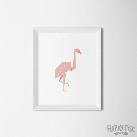 Arte origami Flamingo Bird geometrico di HappyFoxDesign su Etsy