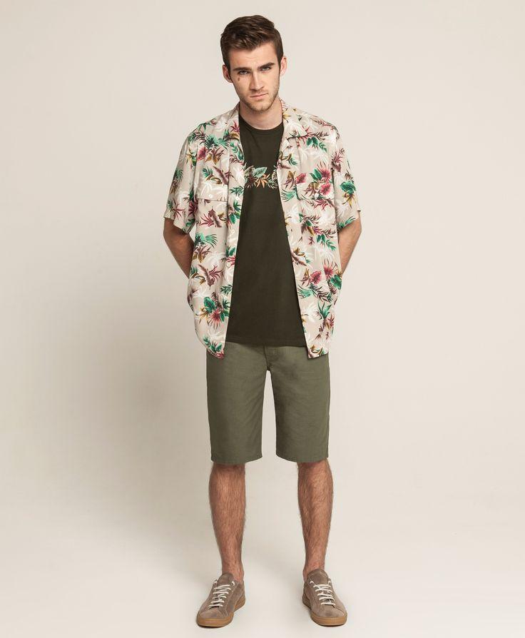 Standard T - Hawaiian Stripe - Khaki, Hawaiian Shirt - Sand-Hawaiian, 5 Pocket Short - Army