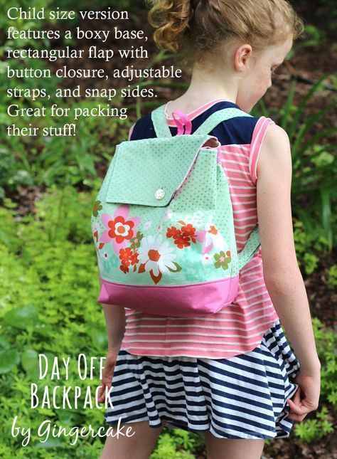 Day Off Back Pack Pdf Sewing Pattern Adult And Child Size New