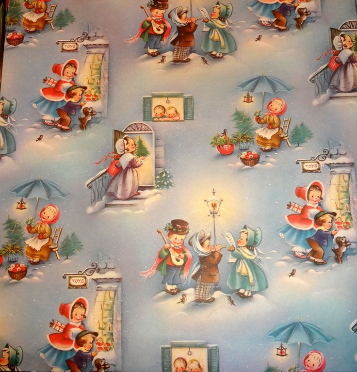 Vintage 1950's Christmas Wrapping Paper, Christmas Preparations | eBay