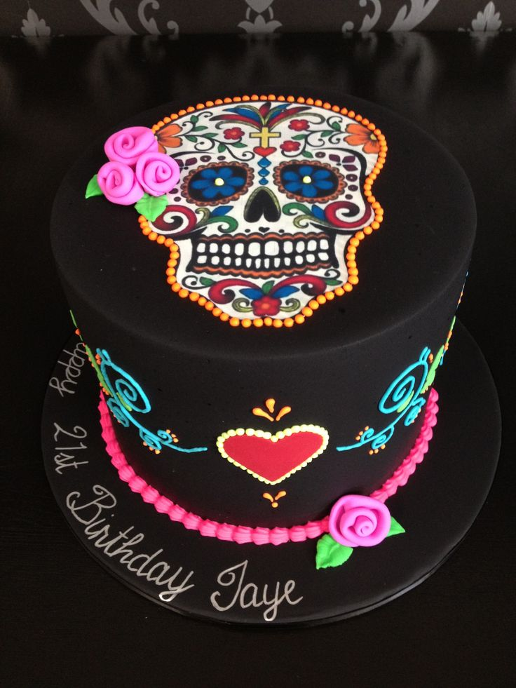 Day of the dead themed cake with fluorescent colour details