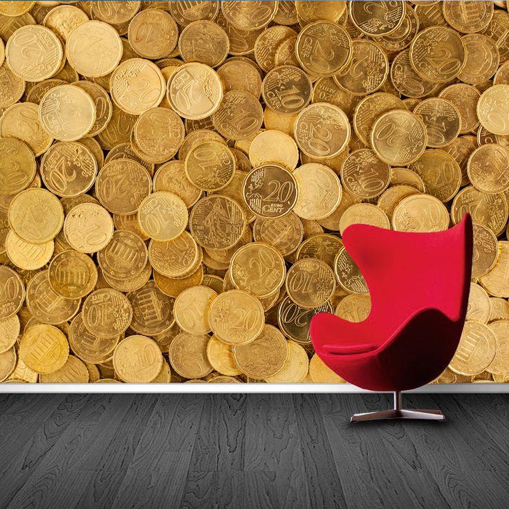 Fotobehang Eurocent | Maak het jezelf eenvoudig en bestel fotobehang voorzien van een lijmlaag bij YouPri om zo gemakkelijk jouw woonruimte een nieuwe stijl te geven. Voor het behangen heb je alleen water nodig!   #behang #fotobehang #print #opdruk #afbeelding #diy #behangen #geld #euro #cent #centen #centjes #rijk #vermogen #geel #muntgeld