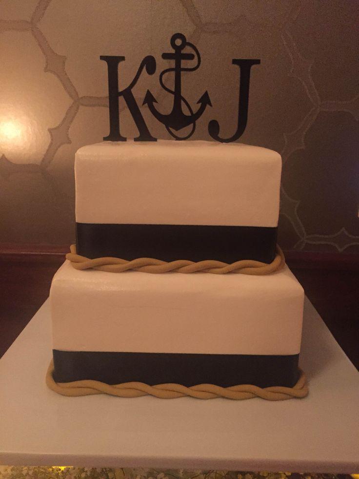 Nautical Theme Wedding Cake With Gold Rope And Custom
