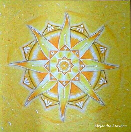 Mandala monocromía anarillo, acrílico y gesso sobre bastidor. Autor: Alejandra Aravena