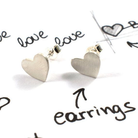 Heart stud earrings sterling silver studs all-day by Akatergasto
