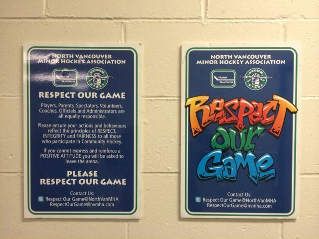 respect our game - North Van minor hockey sign