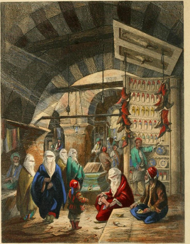 A shoe bazar in Ottoman Istanbul, 1840. Artist not known.