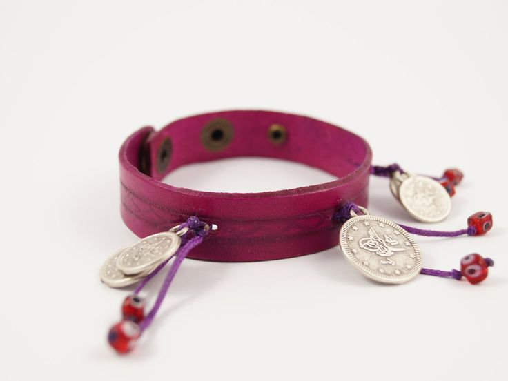 Pink Leather Coin Charm Bracelet, Leather Coin Charm Cuff, Crimson Pink Charm Bracelet with Ottoman Coins and Turkish Charms, Women  Girls by AnatolianBliss on Etsy