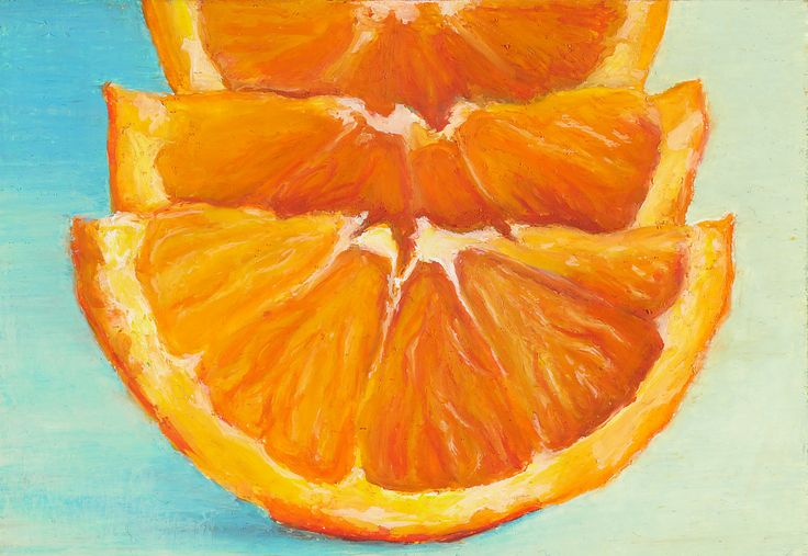 Giclee, Archival, Matted Print of an Original Oil Pastel Painting of Orange Slices