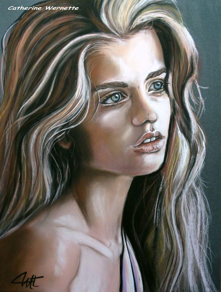 MARIE-ANGE, la candeur Pastel sec sur pastelmat www.artmajeur.com/catherinewernette