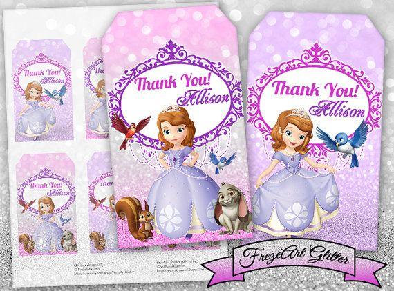 Princess Sofia Gift tags Thank you tags Printable digital tags Sofia the First birthday party prints