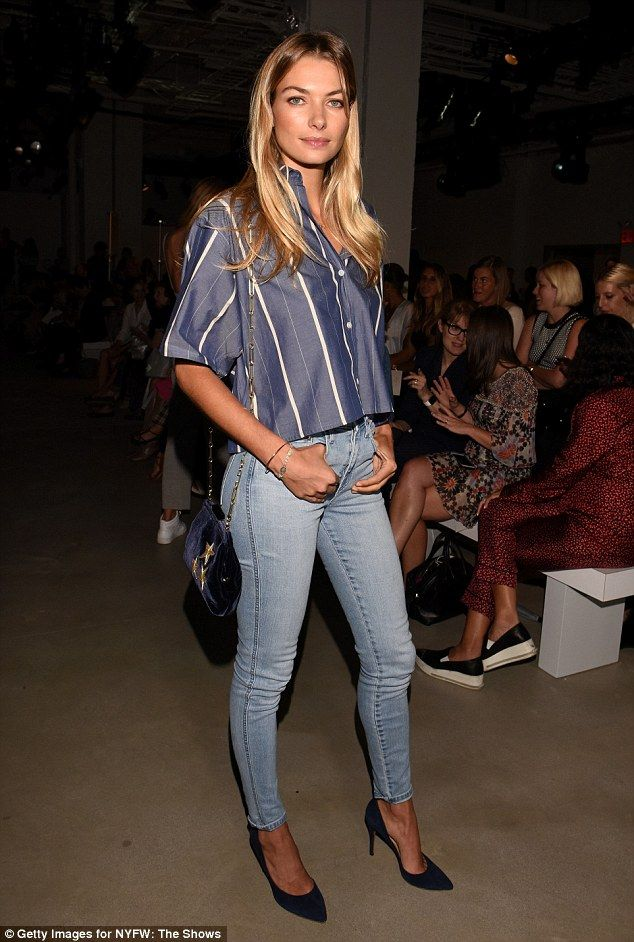 She's got good jeans! Jessica Hart shows off toned limbs in skintight denims and boyfriend shirt as she heads to NYFW on Thursday