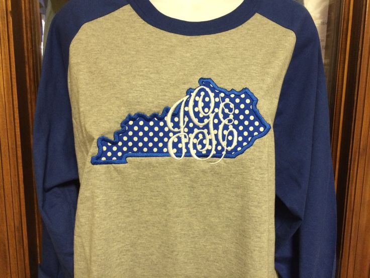 Monogrammed State of Kentucky Appliqued Baseball Tee by StitchingOasis on Etsy