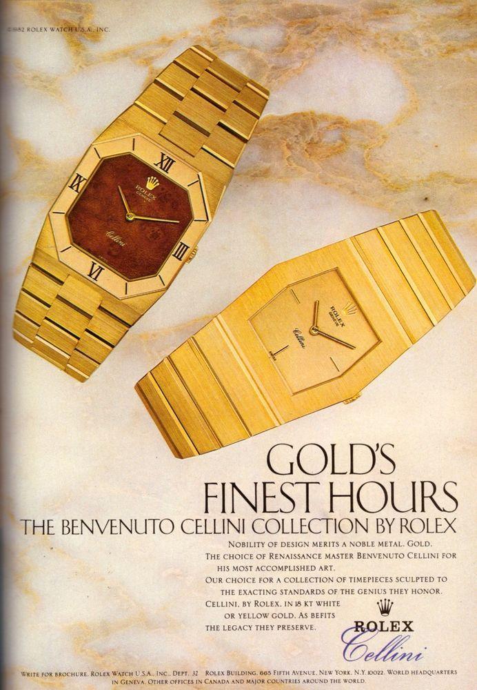 1983 Rolex Cellini Gold Watch  Print Advertisement Ad Vintage VTG 80s | eBay