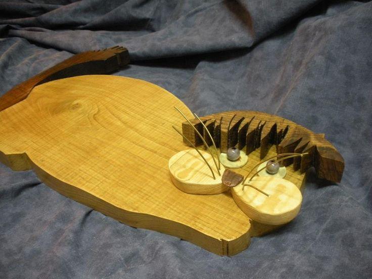 Gatto da muro in legno massello
