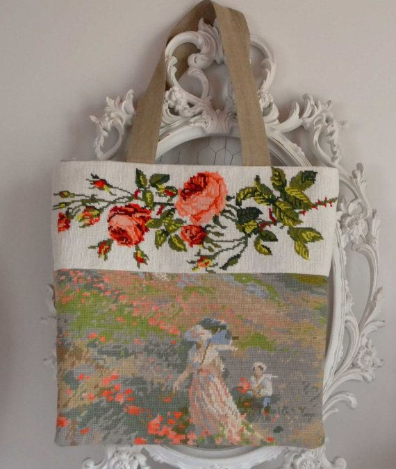 French needlepoint floral tapestry and natural by FrenchDecoChic