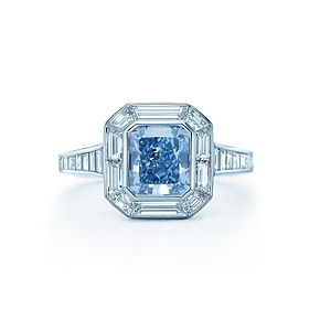 Fancy Intense Blue diamond ring in platinum with white diamonds. Tiffany & Co.