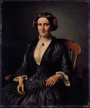 Sittende dame med roser i håret - Aasta Hansteen