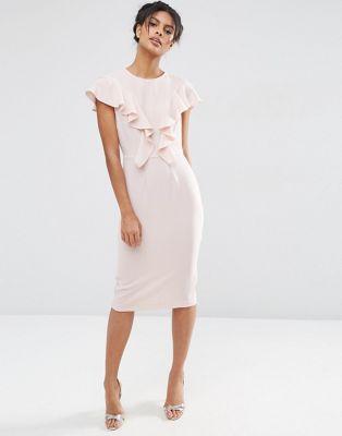 Платье-футляр с оборками спереди ASOS
