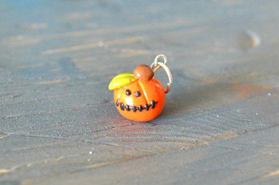 Pumpkin Clay Charm, Pumpkin Charm, Polymer Clay Pumpkin Charm