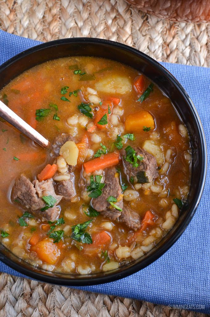 Syn Free Beef Vegetable Barley Soup - a delicious bowl of soup that the whole family will love and can be cooked in a instant pot or stove top.