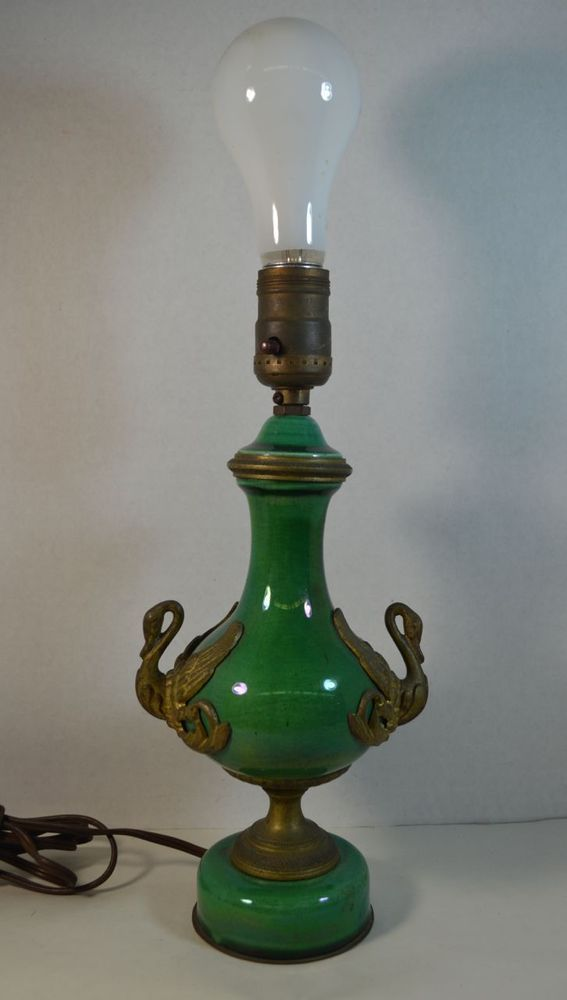 Vintage Green French Ceramic And Bronze Lamp With Swans