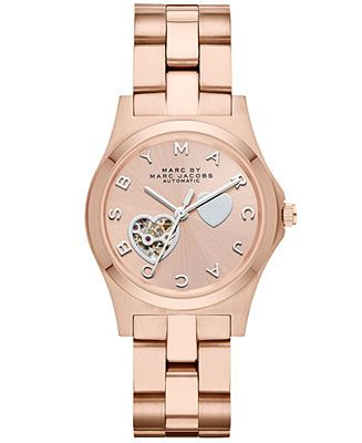 Marc by Marc Jacobs Watch, Women's Automatic Henry Rose Gold-Tone Stainless Steel Bracelet 32mm MBM9713 - Marc by Marc Jacobs - Jewelry & Watches - Macy's
