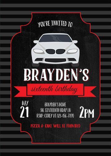 PRINTABLE 16th Sixteenth Birthday Party Invitation Boys