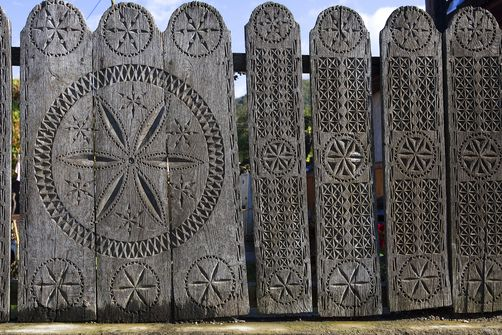 carved fences of a traditional Romanian house