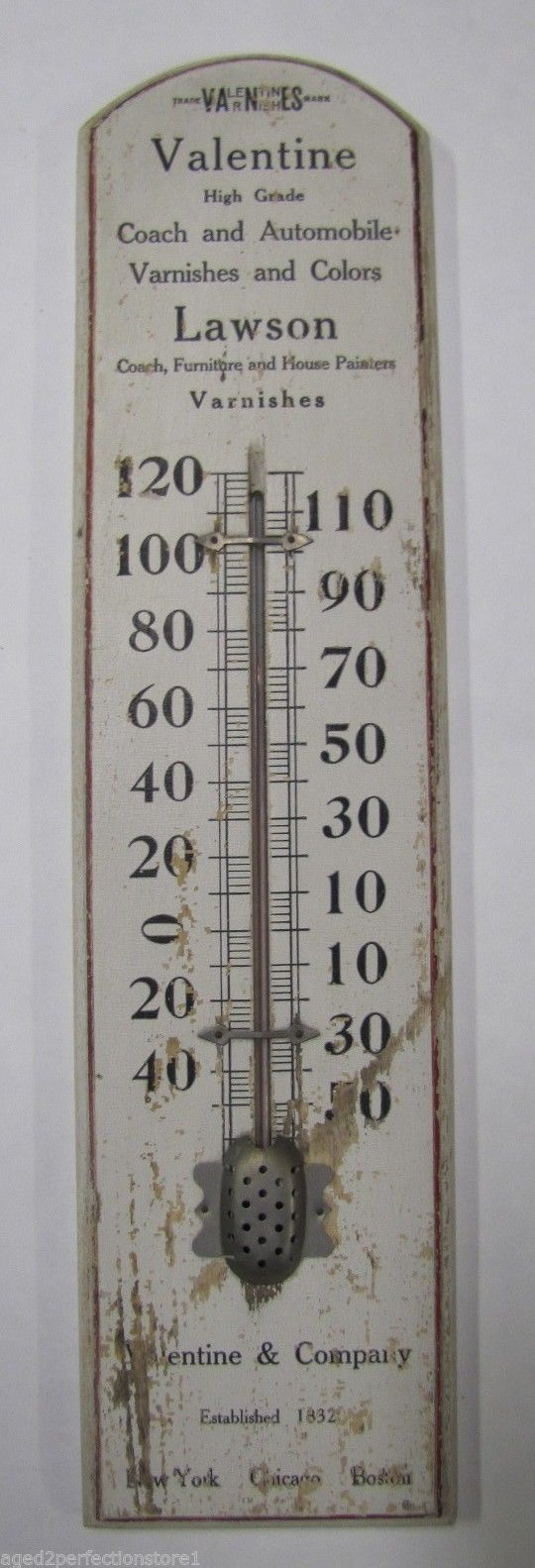 Antique Valentine Co Coach Auto Varnish Color Advertising Thermometer Sign TOC | eBay