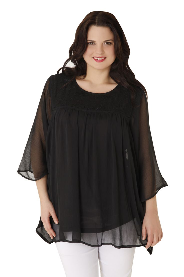 Romantic chiffon top, A-line with embroidery at the neckline and flutter sleeves. The perfect choice for special occassions! Available in 2 colours.