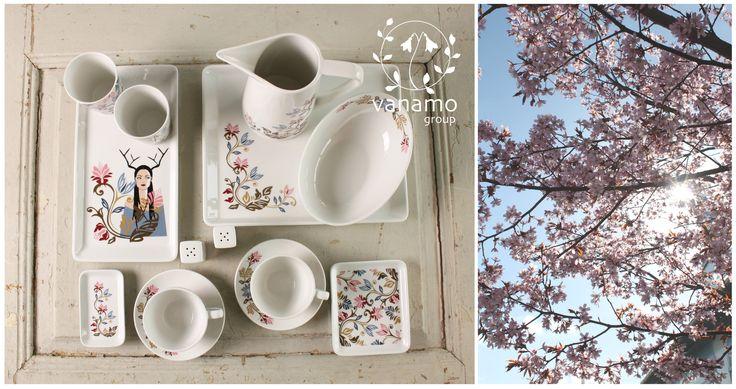 Vanamo Group Oy:n astiastoista löytyy myös romanttisin kukin koristeltu Äiti Maa-sarja. Luonnon kauneus, herkkyys ja vahvuus kaunistamaan niin arkea kuin juhlaakin. #habitare2015 #design #sisustus #messut #helsinki #messukeskus