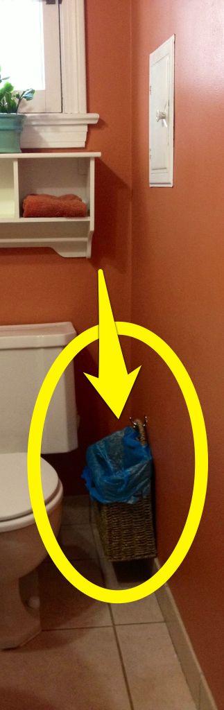 Trash Can Ideas  Bathroom Trash Cans  Bathroom Organization  Bathroom Ideas  Summer Decorating  Hiding Places  Hanging Basket  Grocery Bags  I Tried. 1000  ideas about Bathroom Trash Cans on Pinterest   Burlap