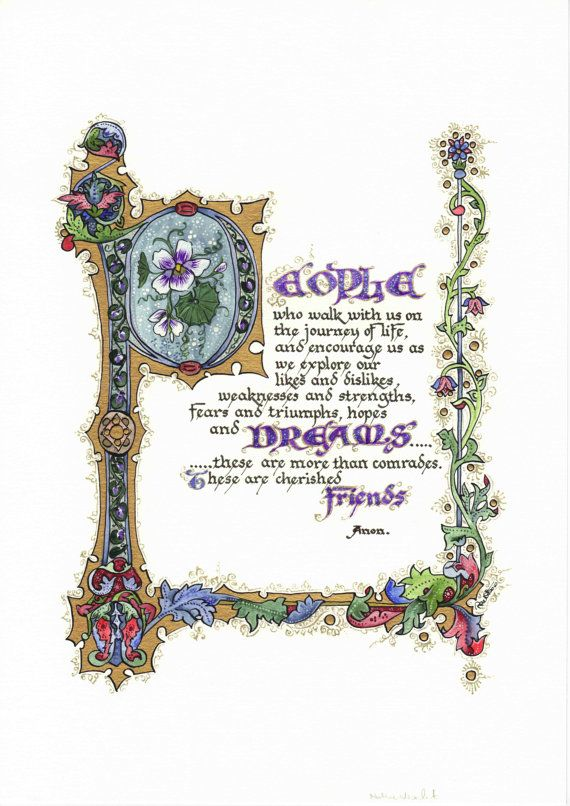 People Dreams Friends - Illuminated Calligraphy Laminated Print