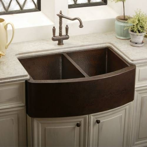 Apron Front Farmhouse Kitchen Sink : ... Apron front Double Bowl Copper Kitchen Sink Cas, Copper and I want